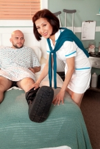Nurse Kim heals the sick, copulates the biggest hard-on